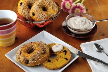 Süßkartoffel-Cranberry-Bagels