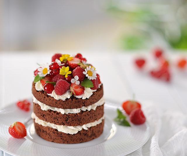 Schoko-Beeren-Naked-Cake