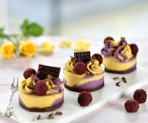 Rohe Cassis-Mango-Cheesecake-Törtchen