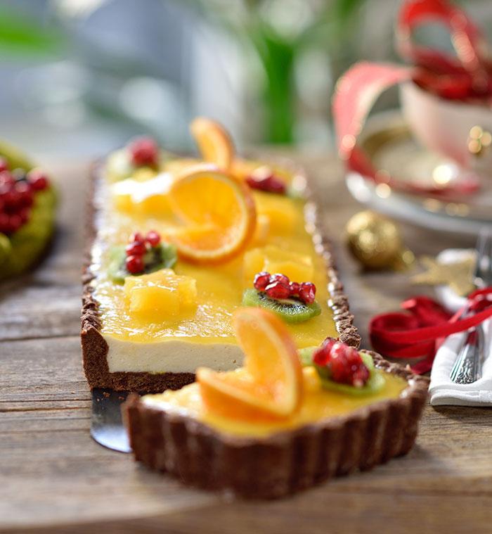 Weihnachtliche Orangen-Marzipan-Schoko-Tarte