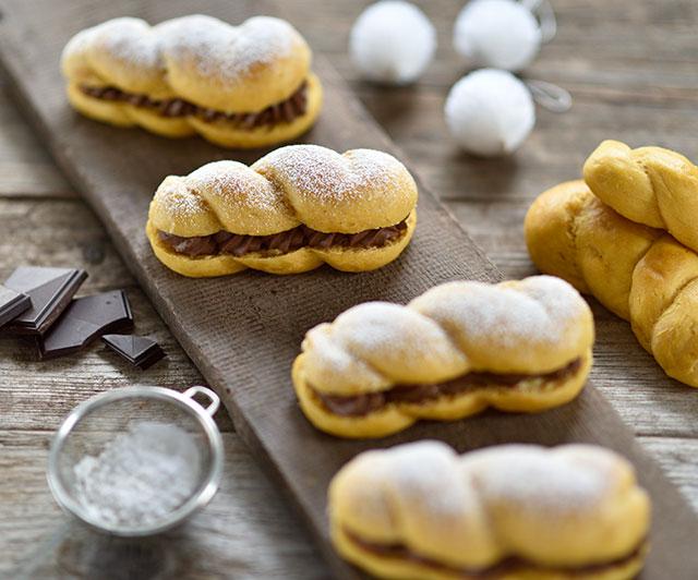 Süßkartoffel-Brioche-Zöpfchen mit Schoko-Nuss-Creme