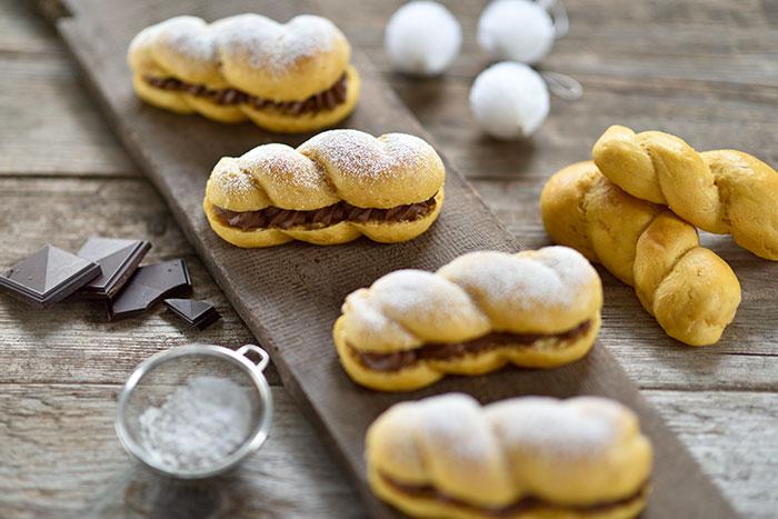 Süßkartoffel-Brioche-Zöpchen mit Schoko-Nuss-Creme
