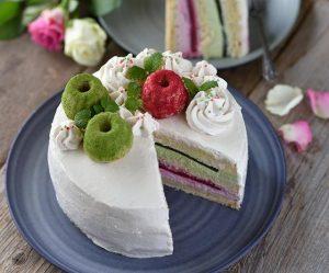 Matcha-Himbeer-Quark-Torte