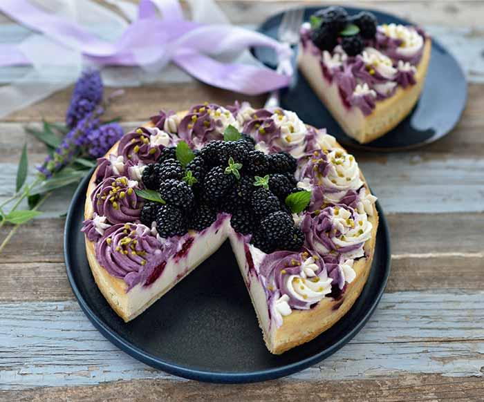Brombeer-Cheesecake mit zweifarbiger Frischkäse-Creme